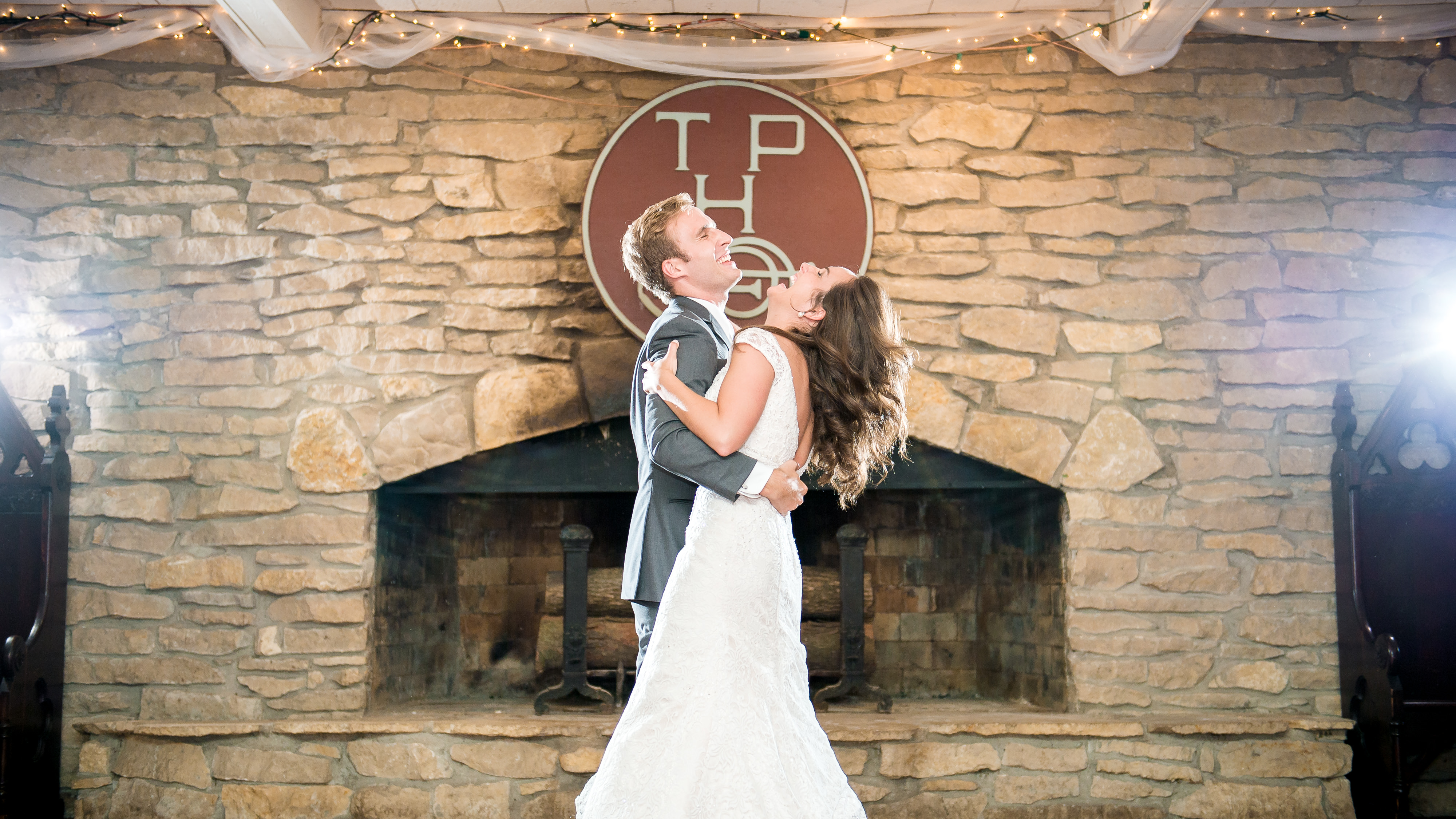 Sweet and funny laughing during a first dance