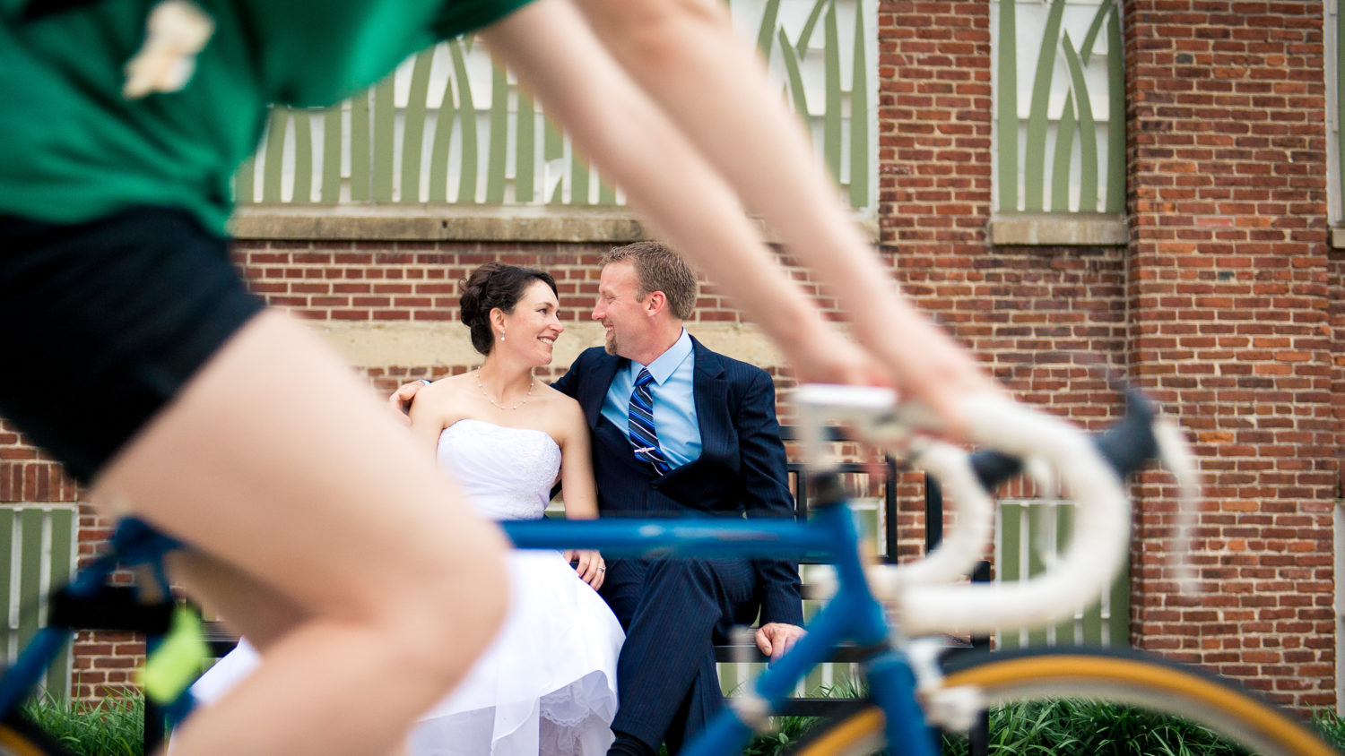 Fun biking wedding portrait