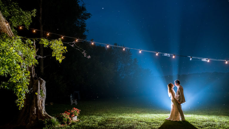 Awesome backlit and moody nighttime wedding portraits