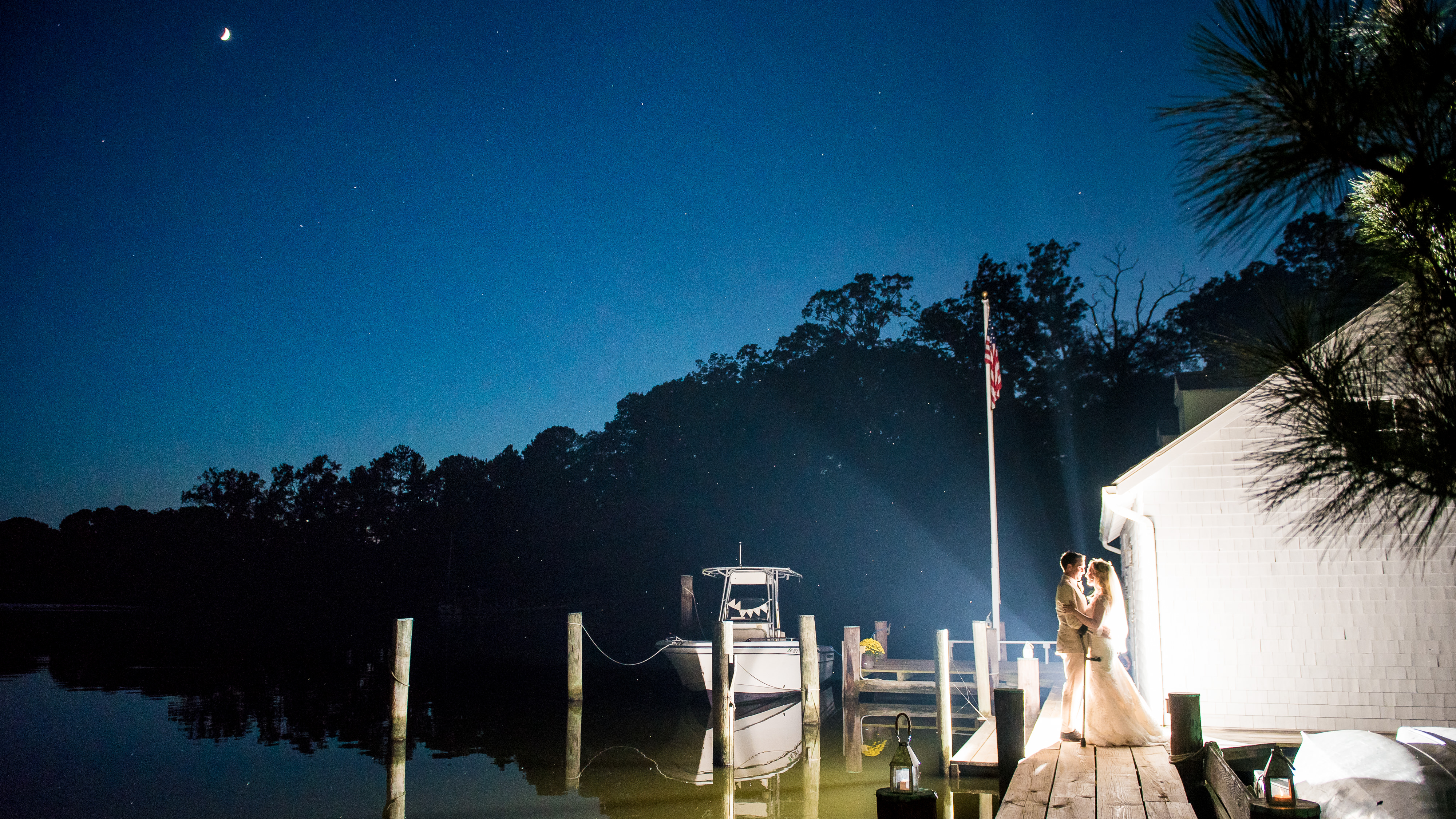 Awesome eastern shore nighttime wedding portraits