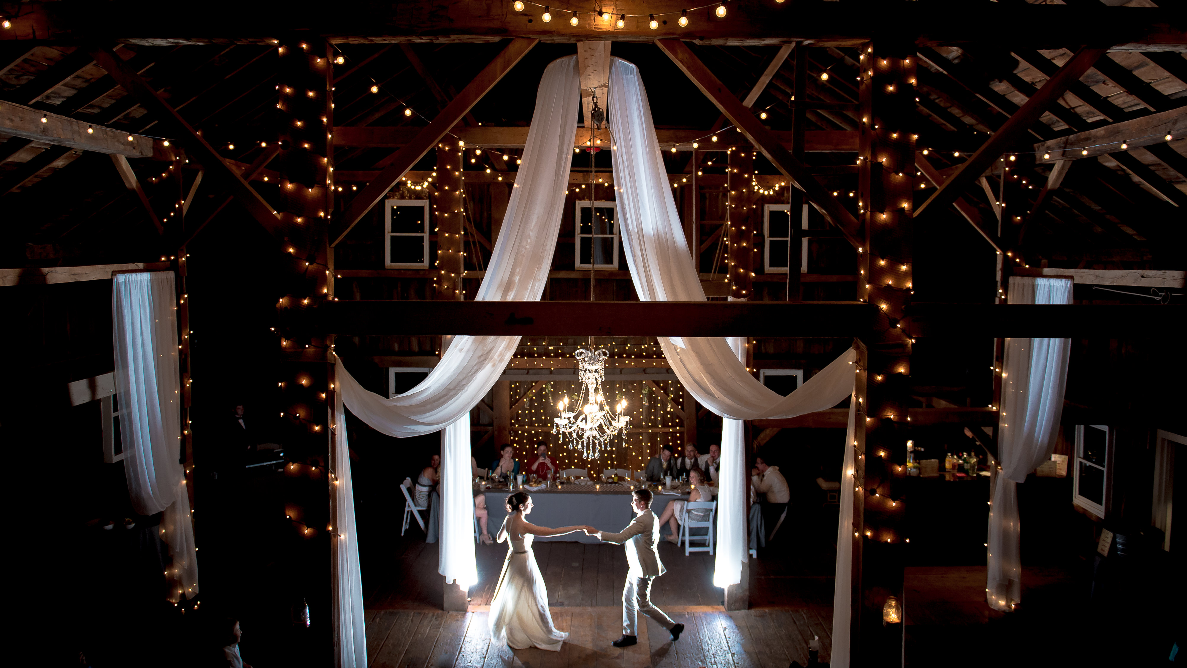 Striking and backlit wedding first dance photo