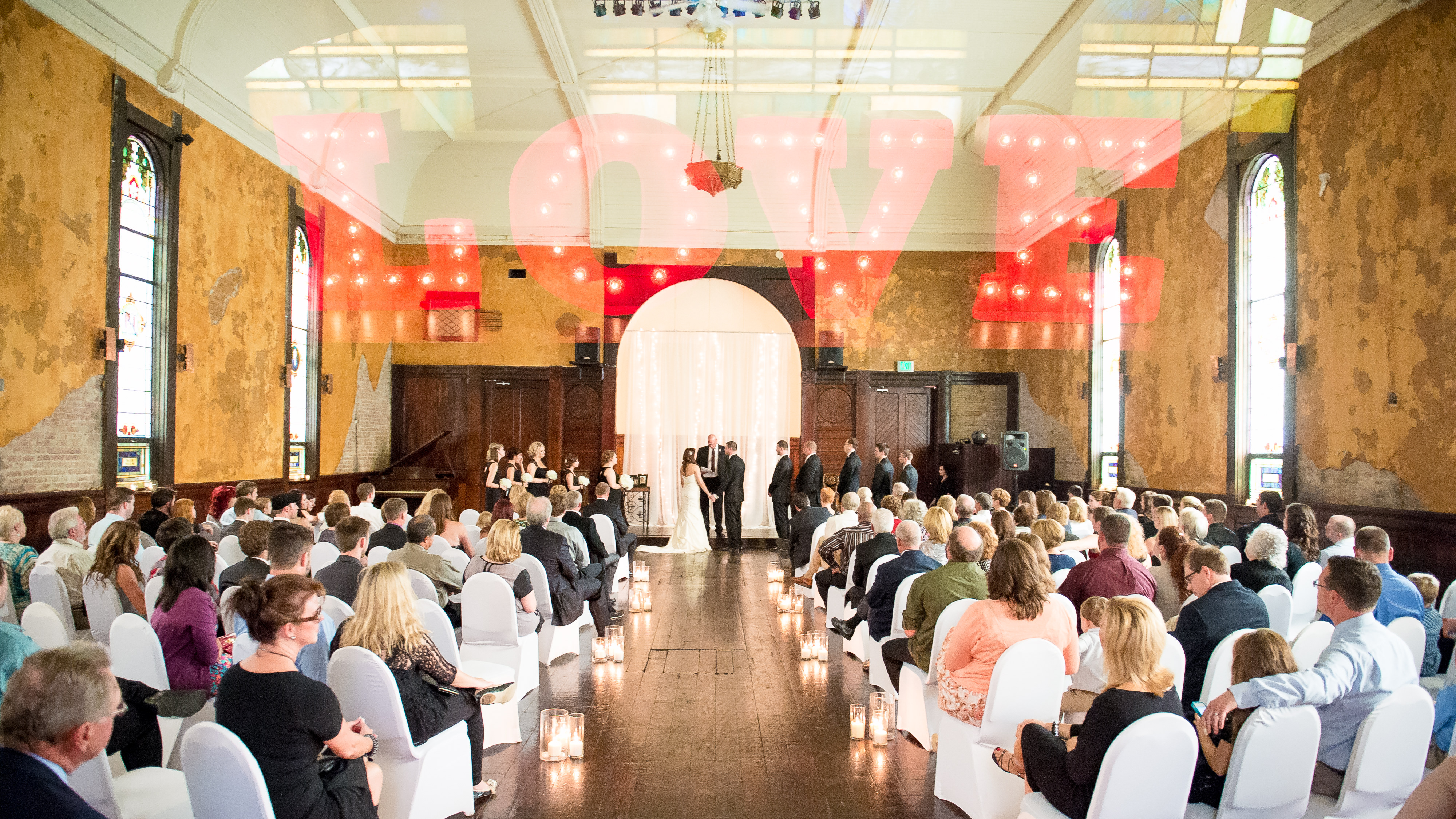Creative Love wedding double exposure ceremony shot