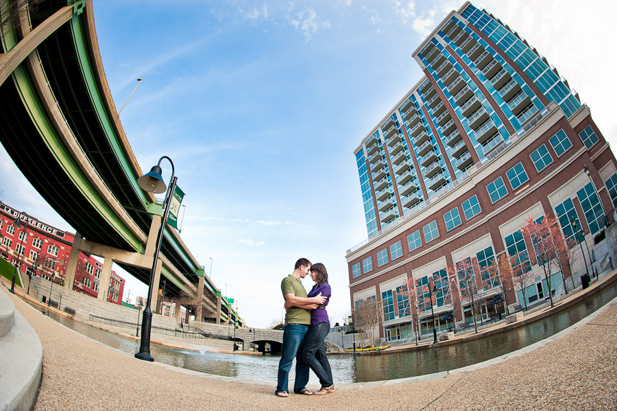 Richmond Canal Walk Engagement Photo Fisheye