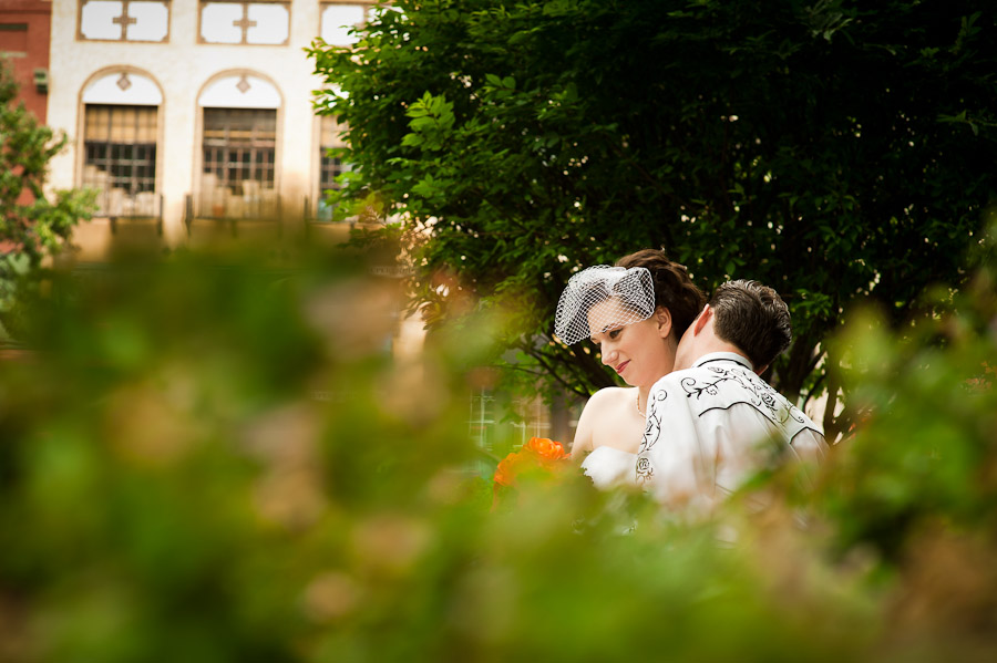 intimate wedding portrait in downtown bloomington, in