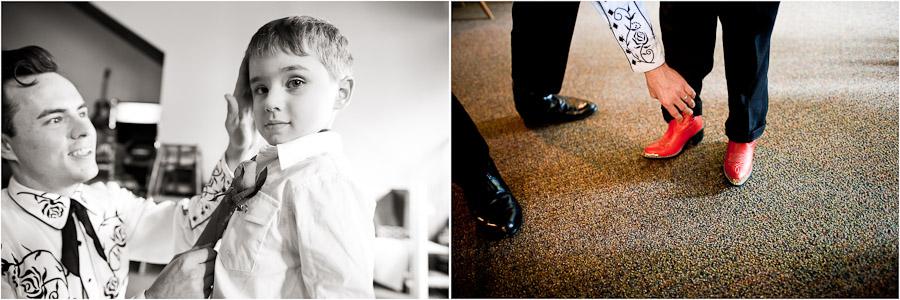 young cowboy at wedding