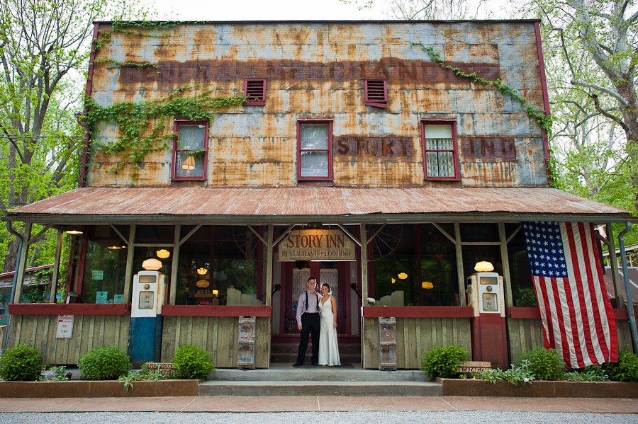 portrait of bride and groom at the story inn in brown county indiana