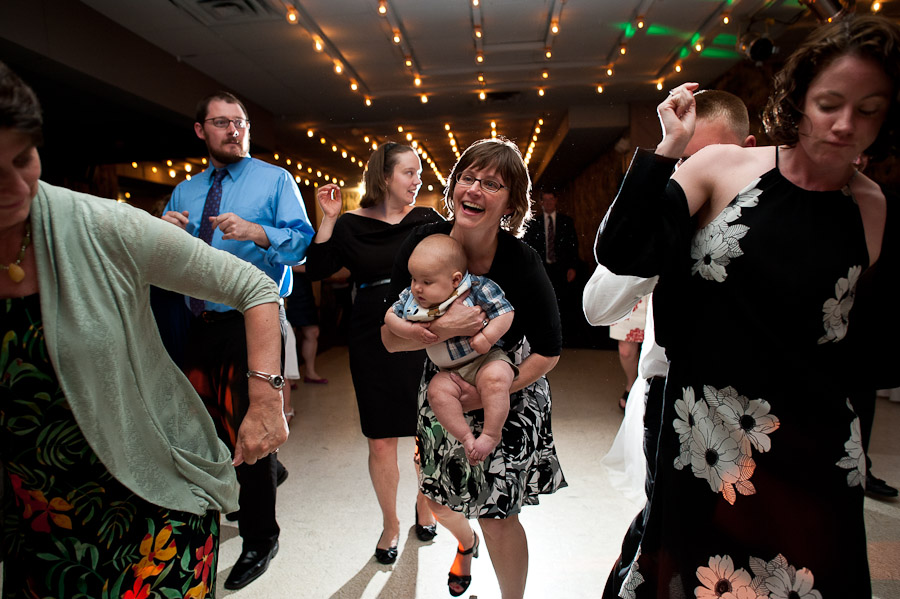hilarious moment of a baby doing the electric slide at a wedding