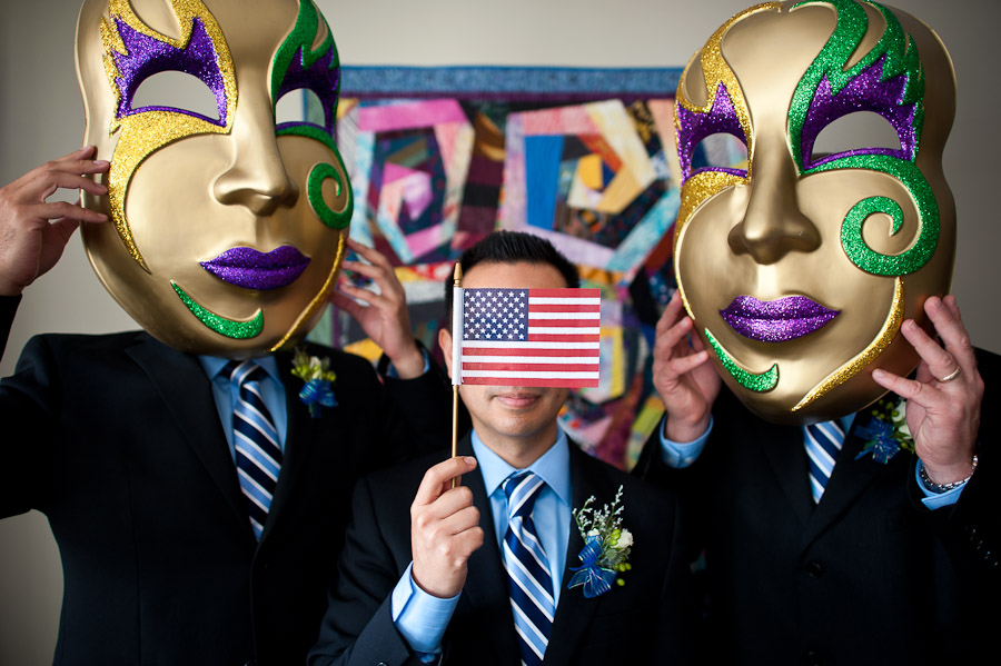 hilarious portrait of groomsmen wearing masks at bloomington wedding