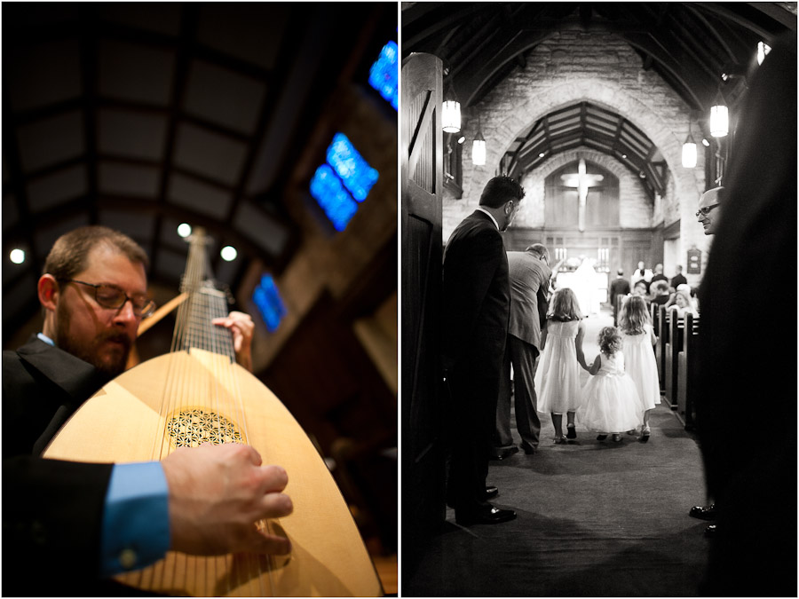theorbo player and flower girls at bloomington wedding