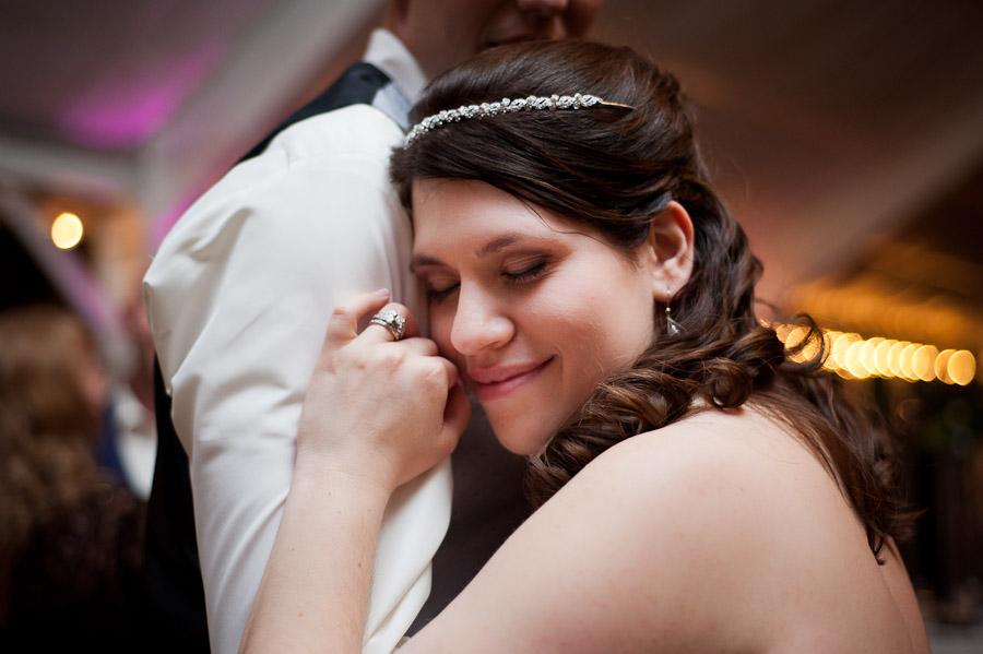 intimate moment between bride and groom on dance floor