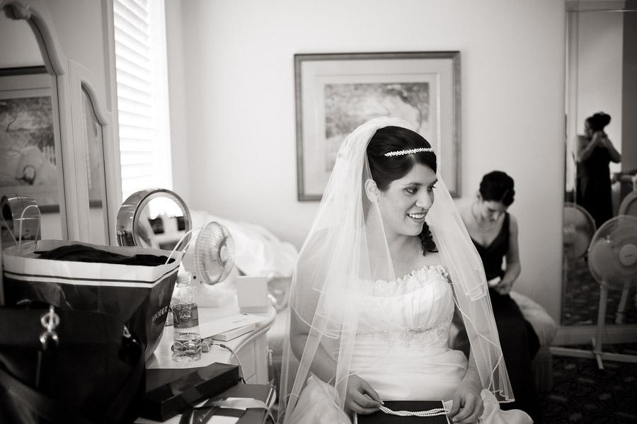 bride in bridal room at ritz charles