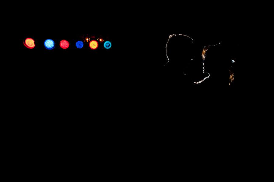 Dramatic lighting strobist portrait of first dance