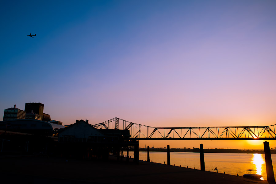 beautiful sunset at waterfront park in louisville KY for engagement session