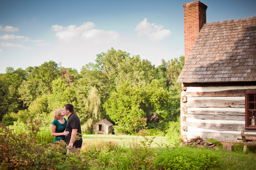couple kissing at locust grove in louisville