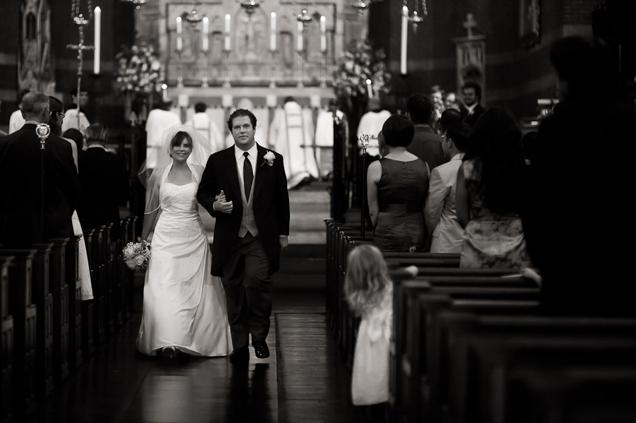 wedding exit at church of the advent in boston, massachusetts