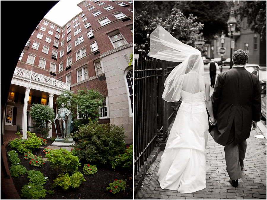 bride and groom exiting from sheraton commander in boston