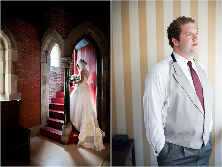colorful portraits of bride and groom before wedding