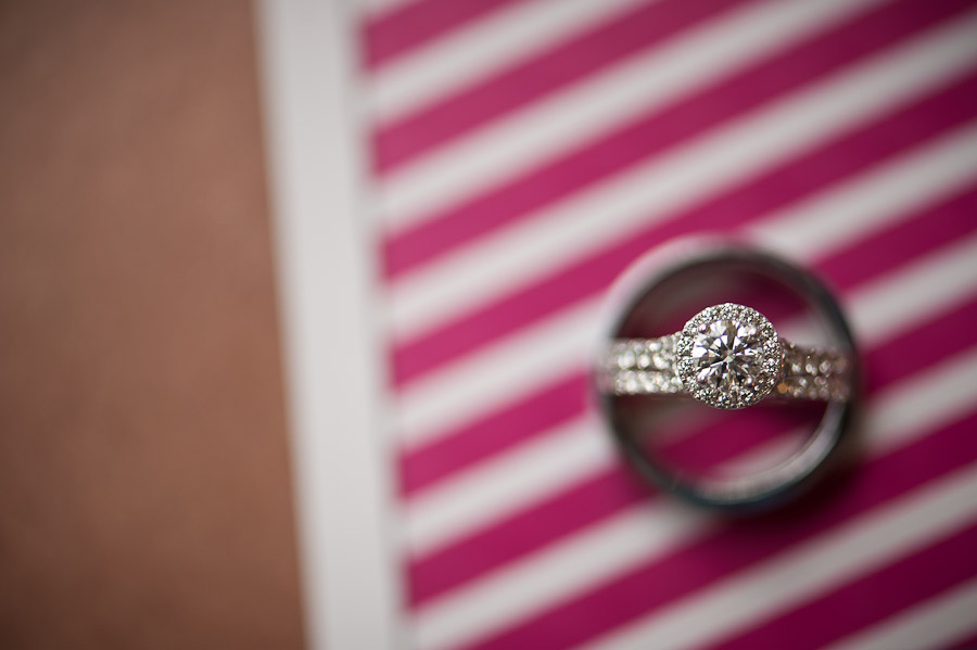 wedding ring shot with pink stripes