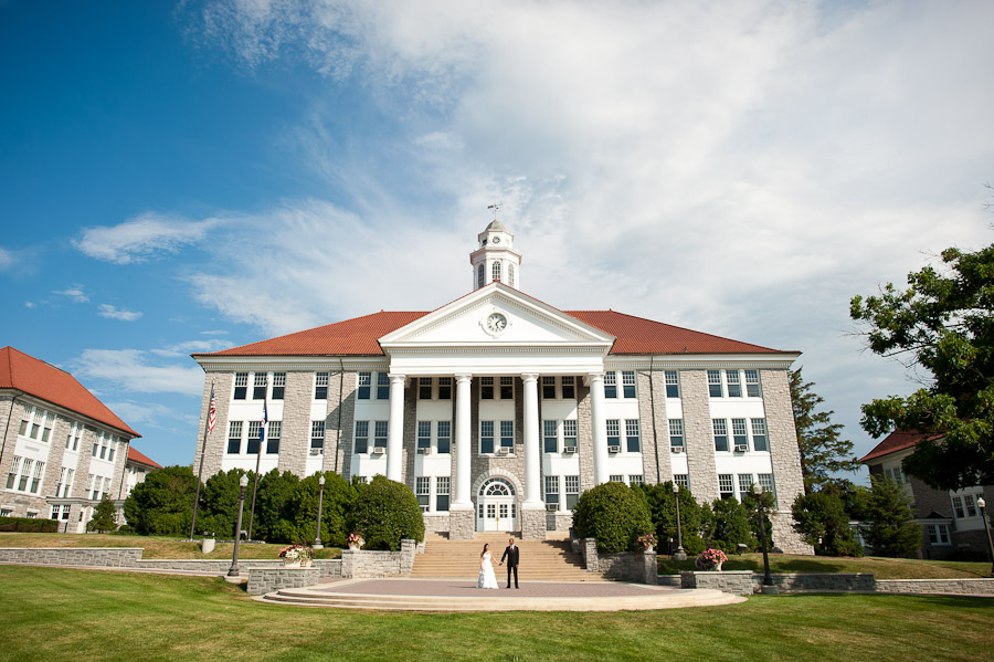 James Madison University Wedding Photography portrait of bride and groom in front of Wilson Hall