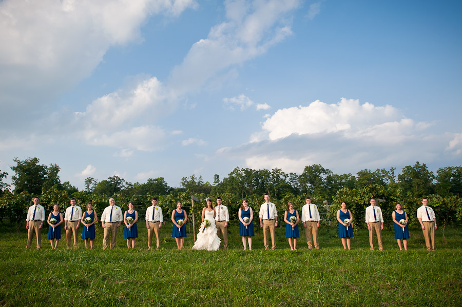 hip bridal party in blue and linen pants with Toms shoes