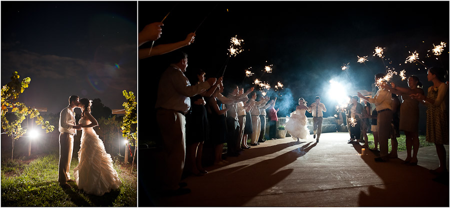 nighttime sparklers at wedding exit