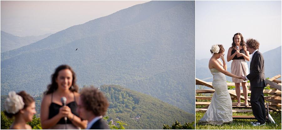 wintergreen wedding ceremony overlooking blue ridge mountains