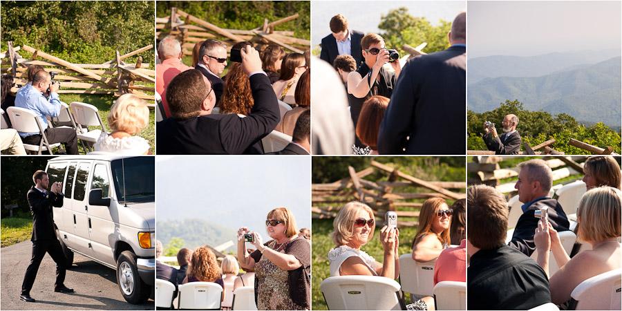 people taking photos at wedding