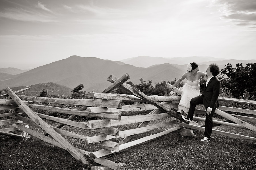bride and groom over blue ridge mountains