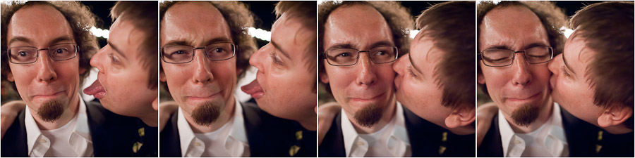 hilarious sequence of guy kissing groom at wedding