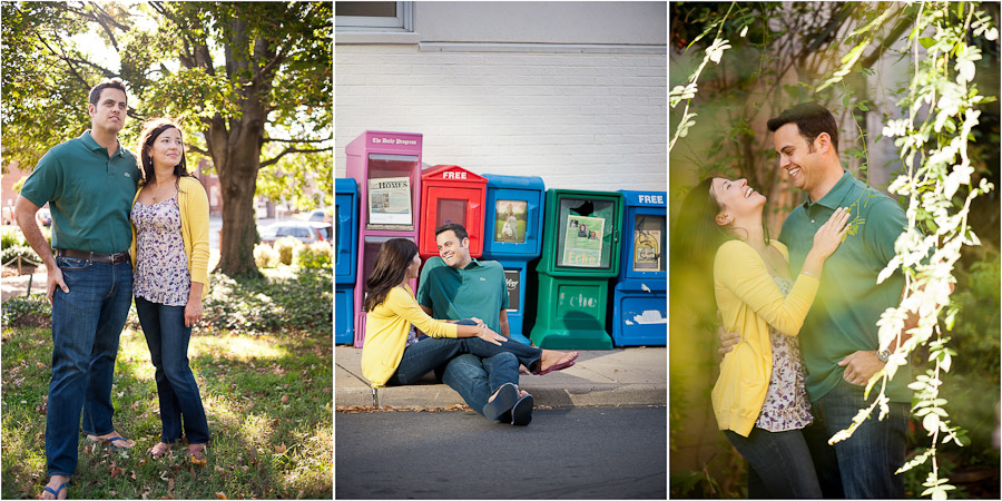Fun engagement photos on the downtown mall in Charlottesville