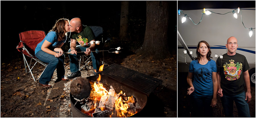 Fun and Quirky Camping and Marshmallow Toasting Engagement Photography