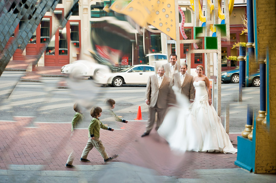 funny downtown louisville wedding portrait in mirrors