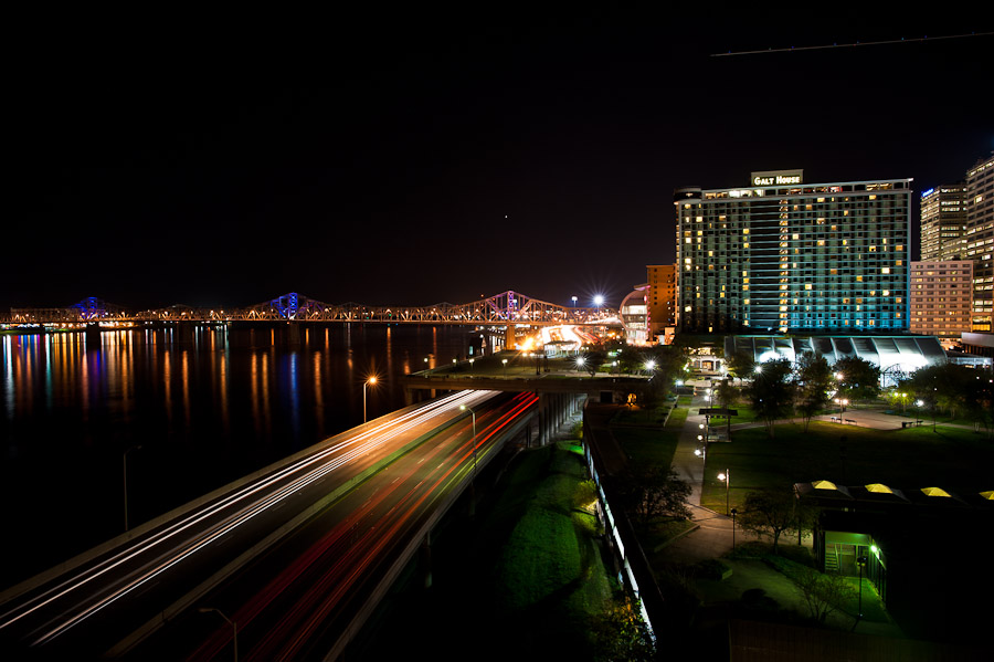 view of downtown louisville at night from ali center wedding photography
