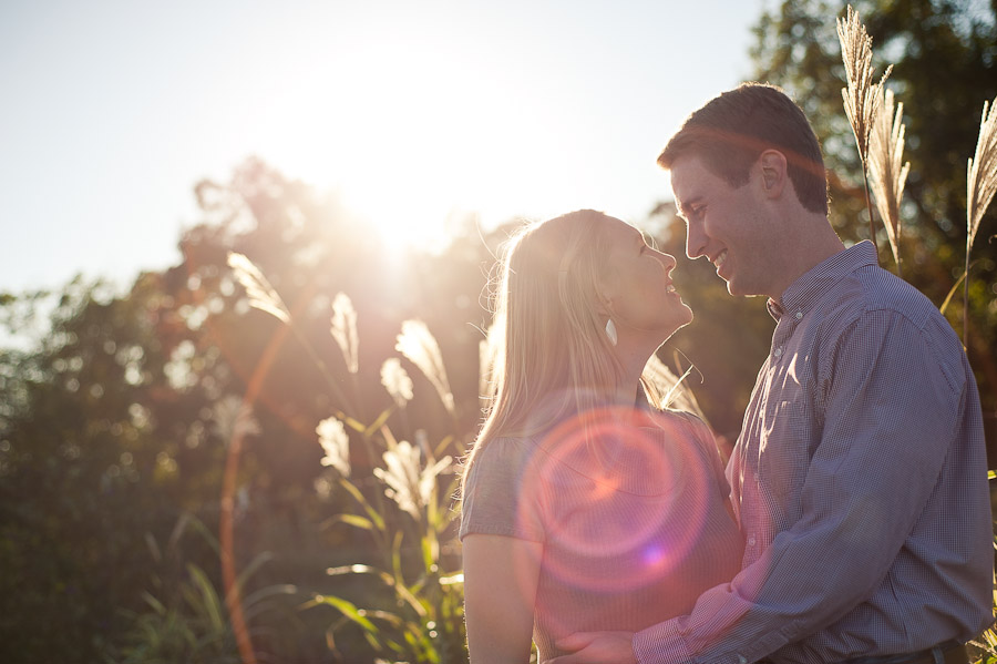 beautiful sun flare engagement photo