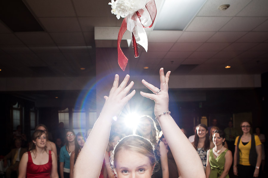 awesome quirky bouquet toss photograph