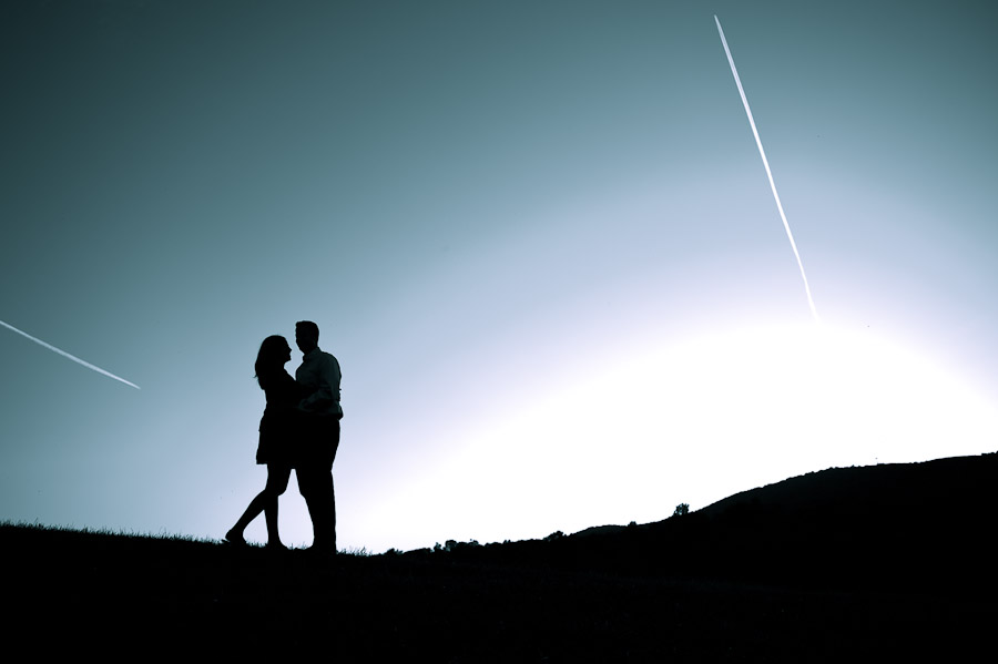 beautiful and striking silhouette engagement photo