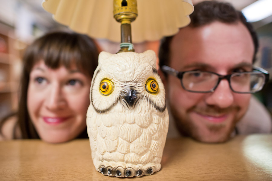 Funny owl lamp engagement photo
