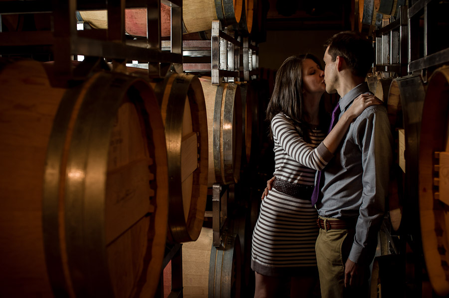 Wine Cellar Engagement Photo at King Family Vineyard