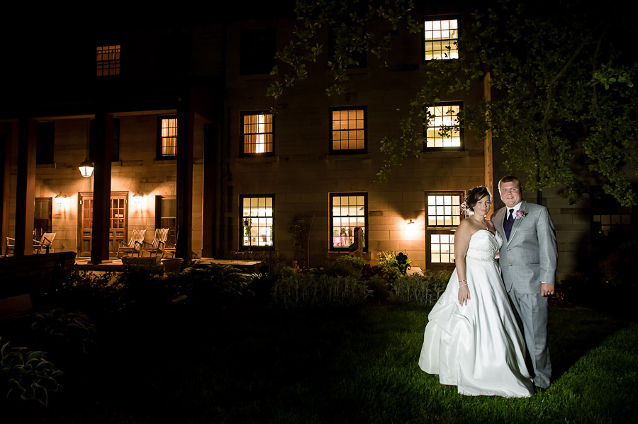 Night Portrait Wedding Spring Mill Inn Mitchell Indiana