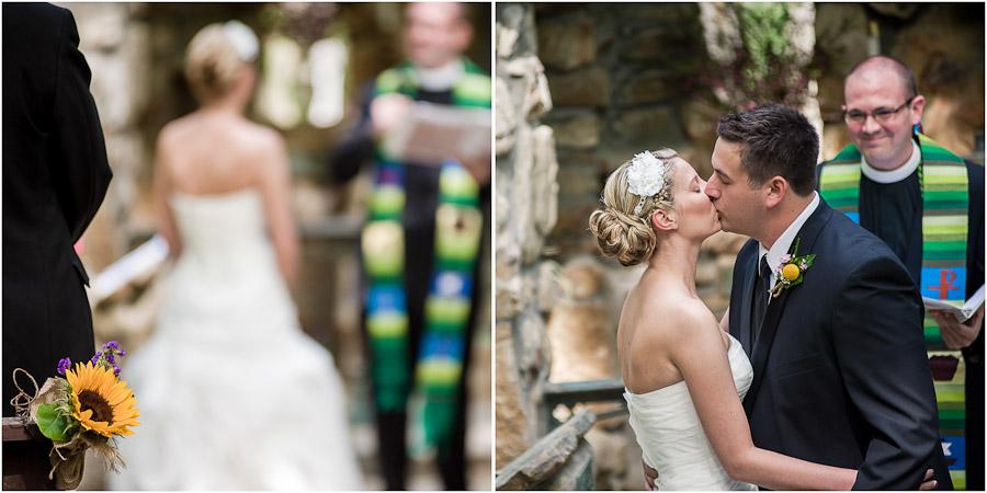 Wedding Kiss at outdoor Virginia wedding