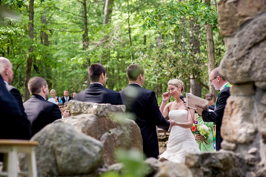 Sweet moment during outdoor wedding ceremony