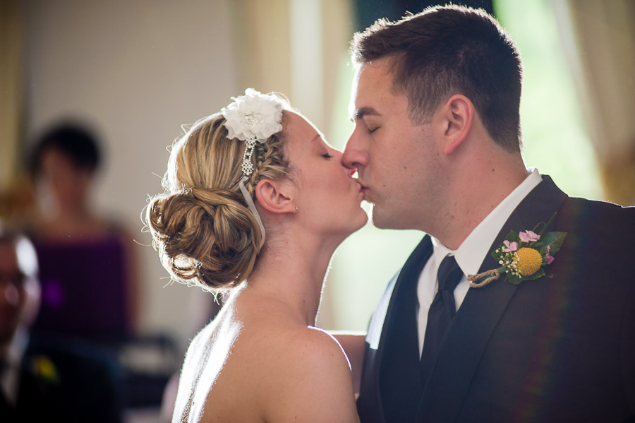 Sweet kiss during first dance