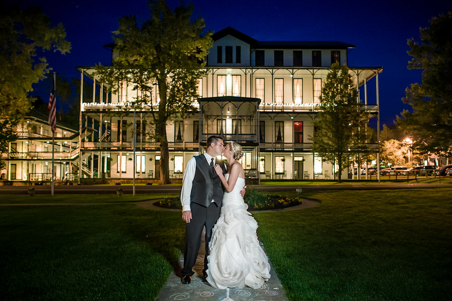 Night Portrait of Bride and Groom at Orkney Springs Hotel Wedding