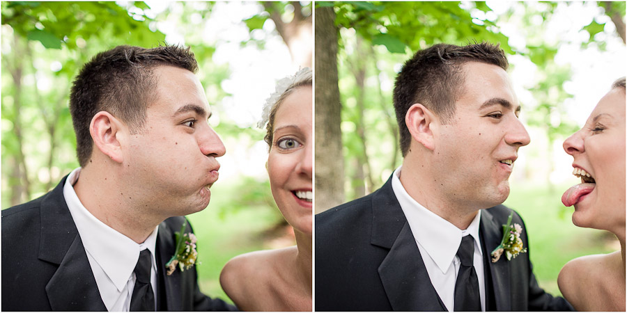 Hilarious funny faces by bride and groom