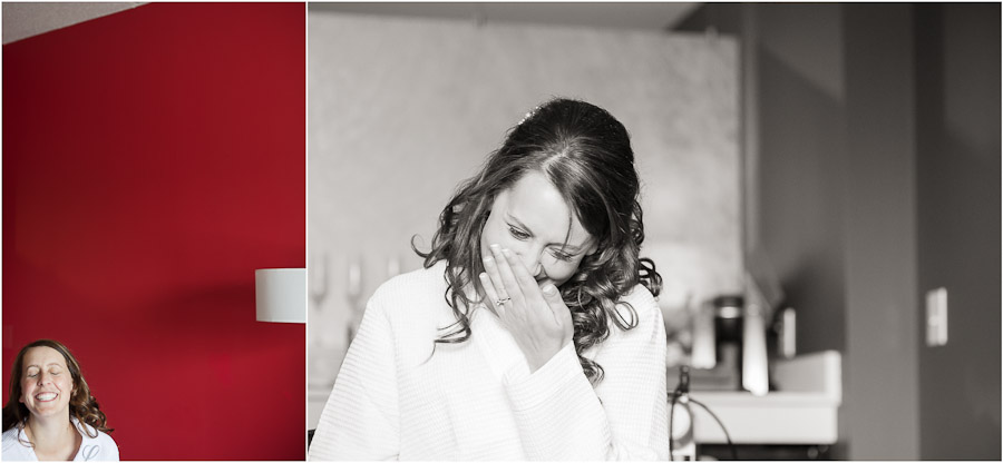 Bride laughing at hotel indigo in columbus indiana