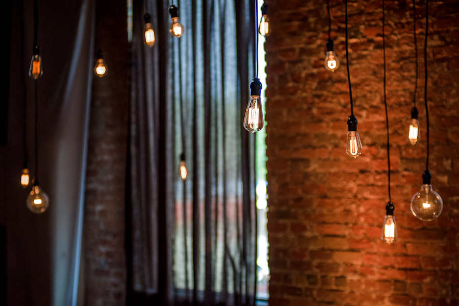 Edison Lights for wedding in columbus indiana at factory 12 event loft