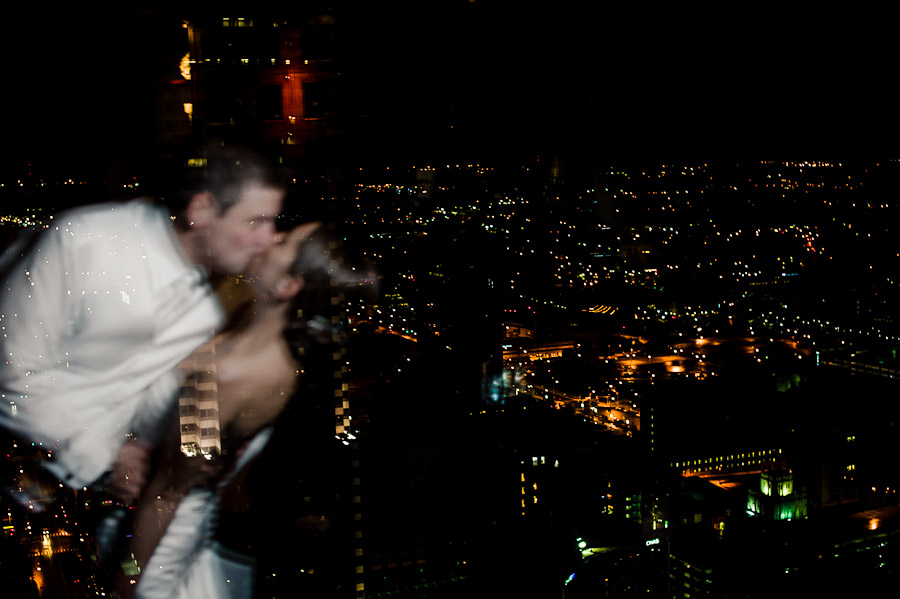 Creative Night Portrait overlooking downtown Indianapolis