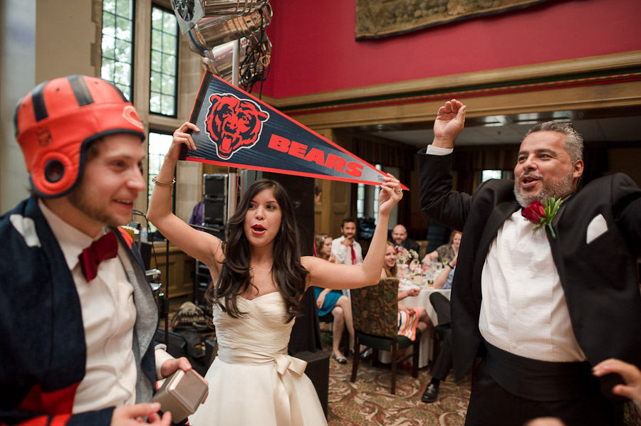 Hilarious wedding moment of Chicago Bears fans at Tudor Room in IU Memorial Union