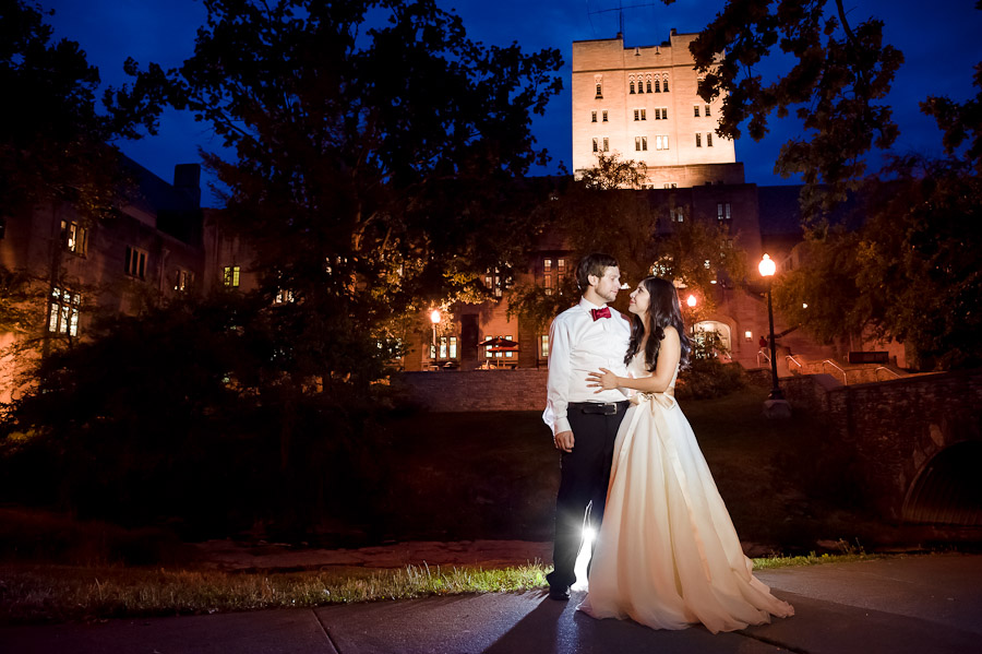 Indiana University Wedding Photography Alumni Hall Night Portrait