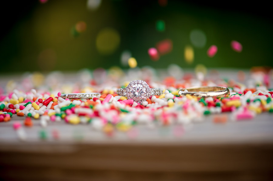Funny wedding ring shot with sprinkles